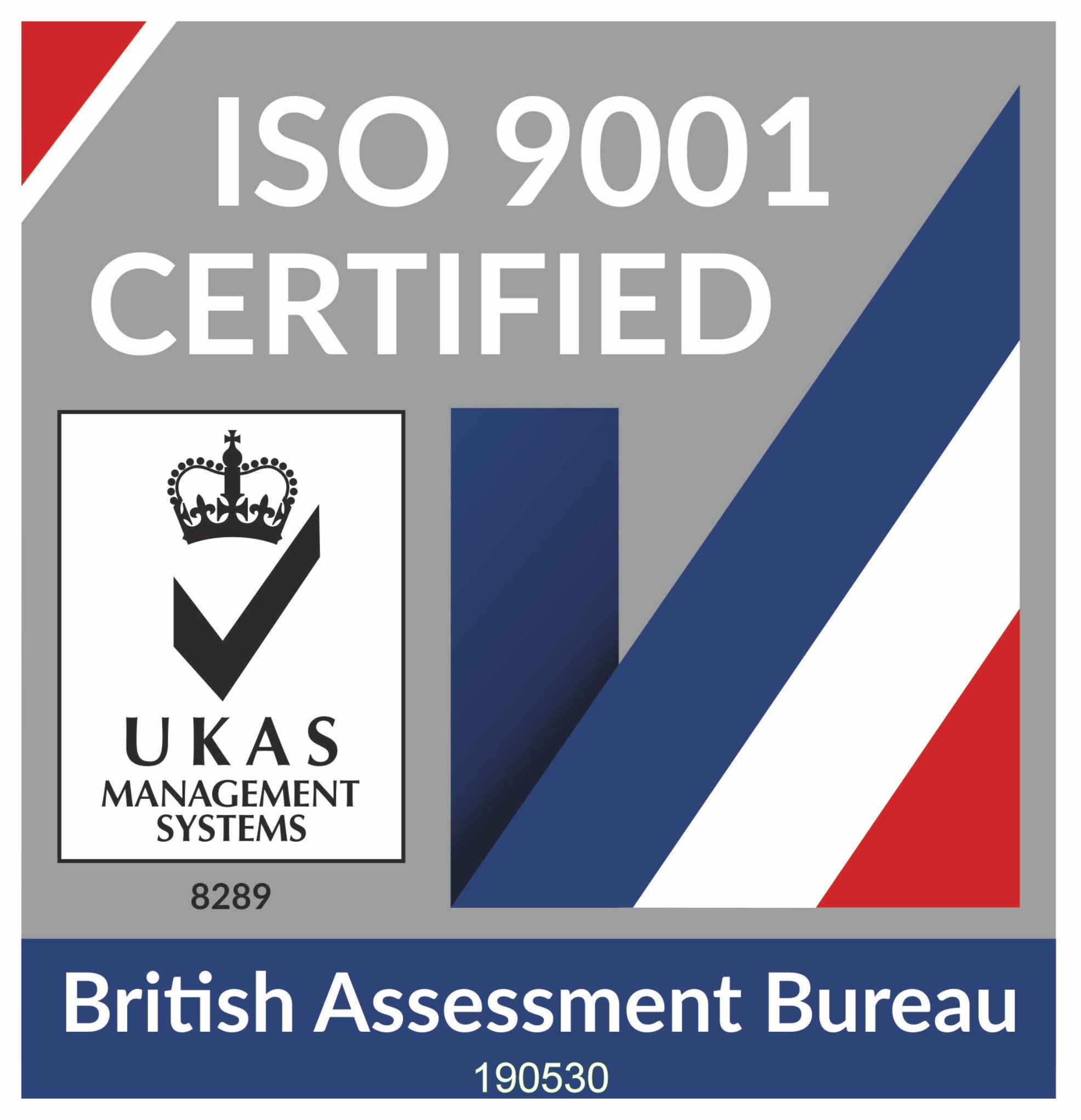 Image confirming ISO 9001 Certification from the British Assessment Bureau